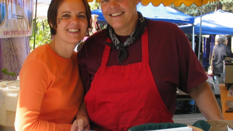 Liz Laury & Liz Sereda at their food booth at Harvest Arts & Peace Festival – Bonnie Bladen