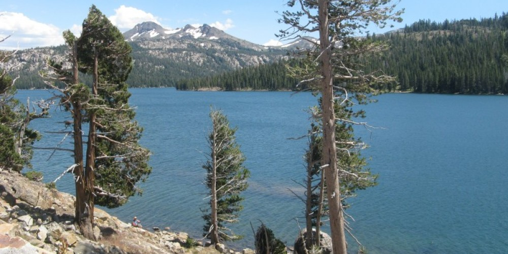 Caples Lake Looking Southeast  Original Trail crossed the valley which now is covered by Caples Lake – By Syd Whittle, July 26, 2009
