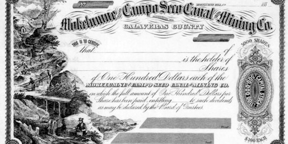 Stock certificate for the Mokelumne & Campo Seco Canal Mining Co. – Mountain Democrat