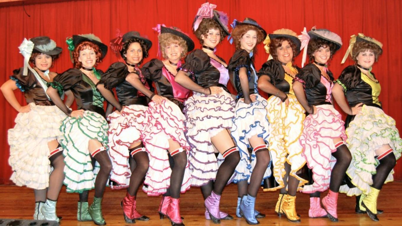 The Grub Gulch Garter Girls dancing the Can Can – Carol Kovach