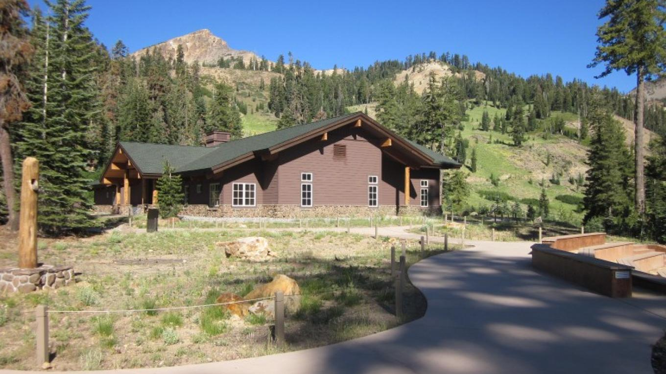 The Kohm Yah-mah-nee Visitor Center with Mt. Diller in the background. – Leah Duran