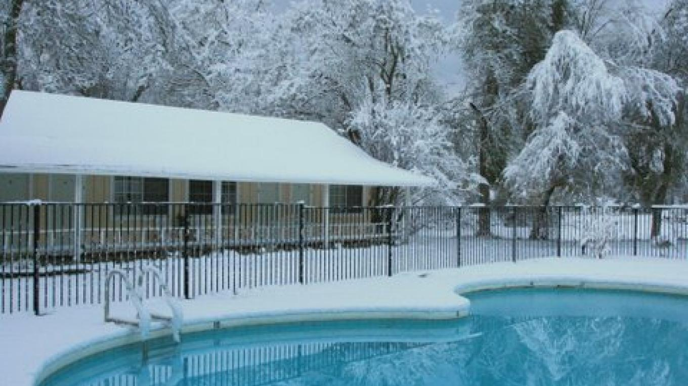 Winter view of guest rooms/pool
