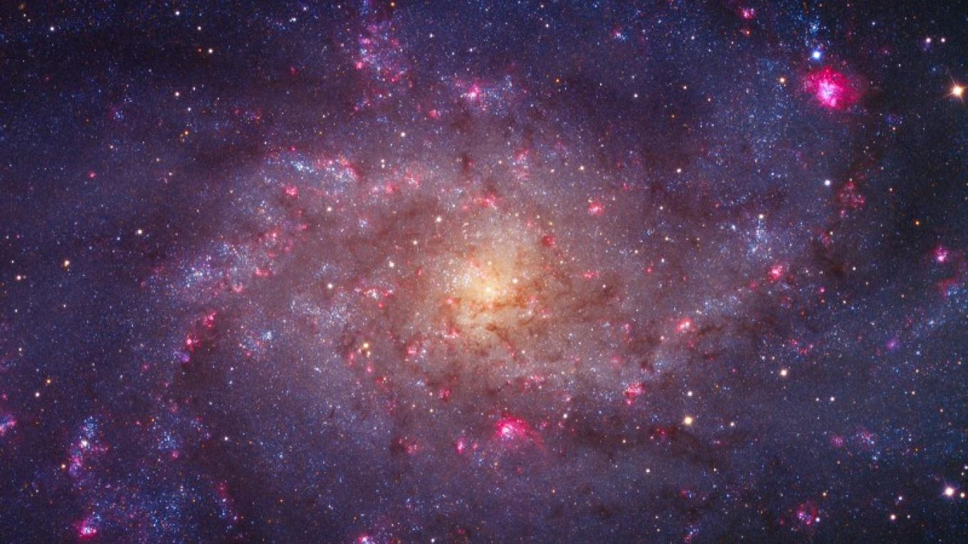 """M33 """"The Pinwheel Galaxy"""" - The bright read areas are star forming regions within the galaxy. Photo taken at Rancho Del Sol in Camino, California (12 East of the observatory). – Ken Crawford"""