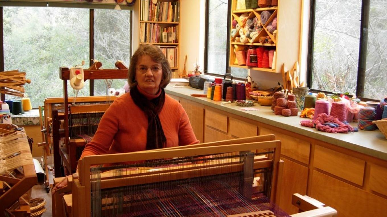 Nikki weaving in her studio – Richard Crain