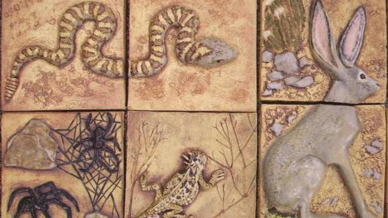 Rattlesnake by Cathy Quintana, Horned Lizard by Anne Clark, Black Widow Spiders by Jaclyn Bissonette, Jackrabbit by Dodie Smither – Patricia Holton