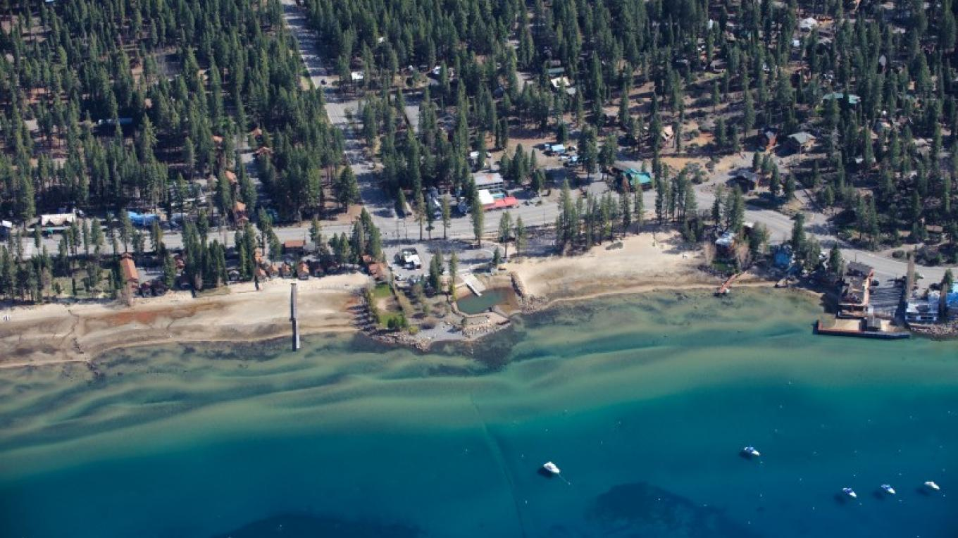 Tahoe Vista Recreation Area in the center of the photo.  Note that this is an extremely low water year and before dredging took place in Spring 2010. – Court Leve