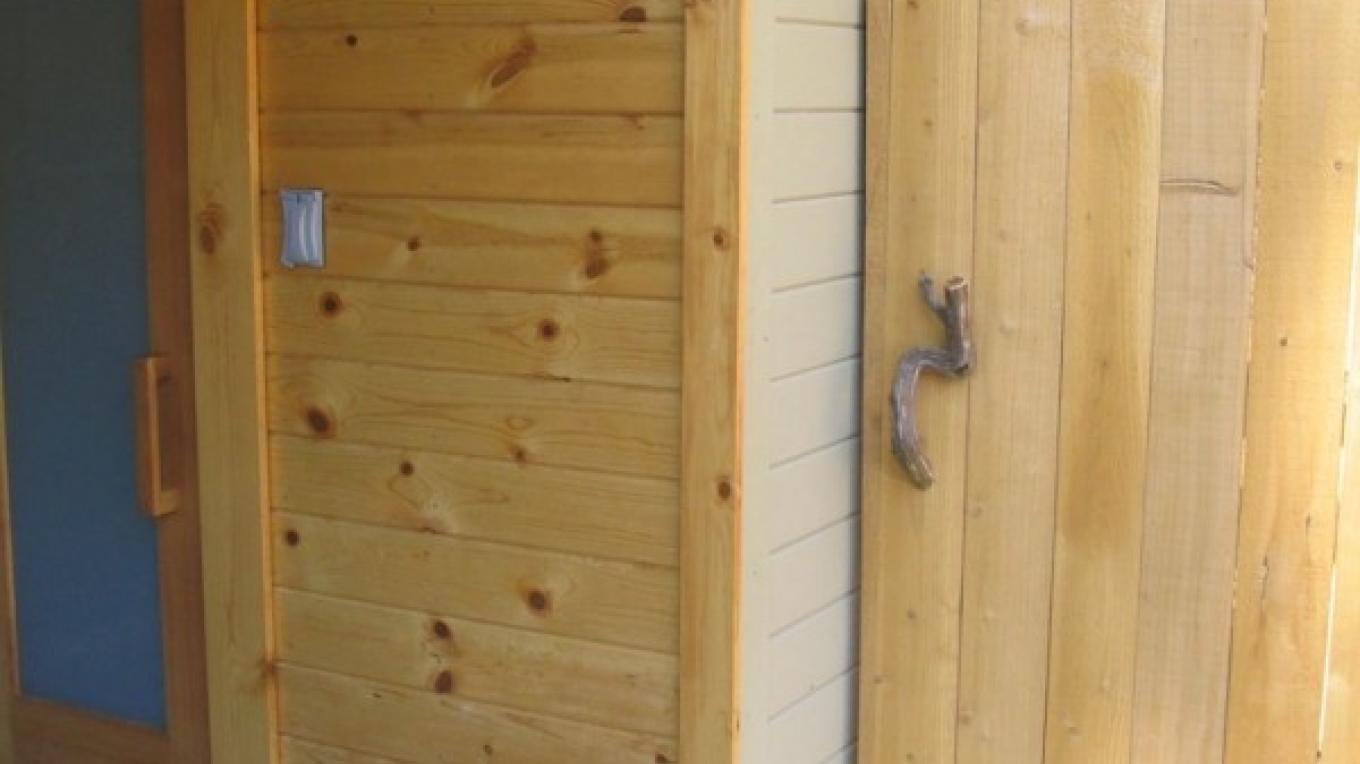 Sauna and outdoor shower at back porch – Mahalia LoMele