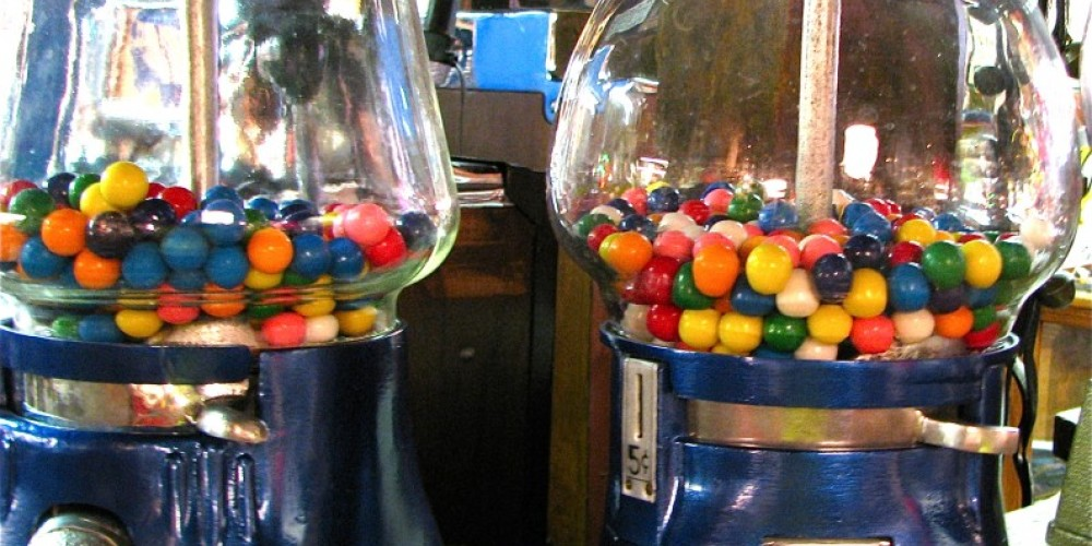 The gum ball machines are fully restored. – Karrie Lindsay