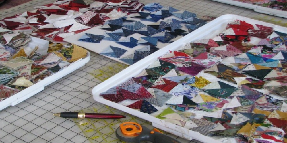 Careful sorting is essential for the quantity of squares that are available at any one time.  Thousands to be sure. – Karrie Lindsay