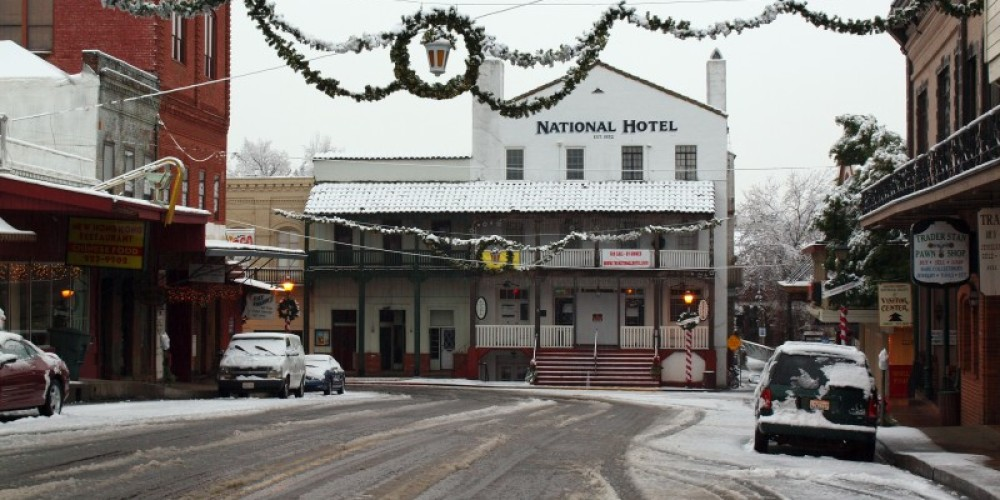 A rare snowfall graces the National Hotel in December 2009