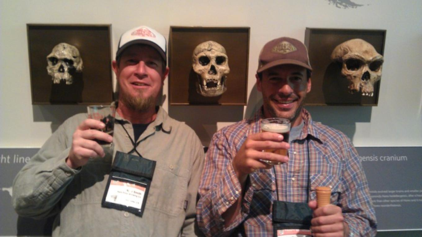 Kern River Brewing Company's Kyle Smith and Eric Giddens meeting some new friends at the Craft Brewers Conference in San Francisco