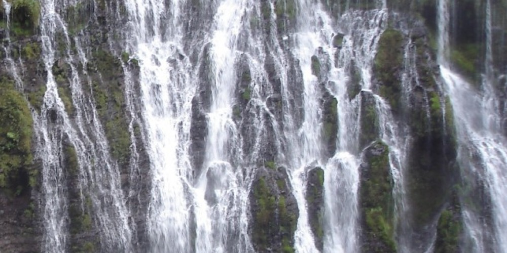 Much of the flow of Burney Falls issues from the side of the mountain. – Ben Miles