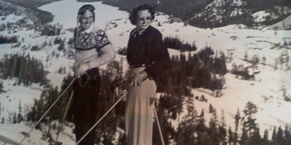 1940's skiers above Donner Lake