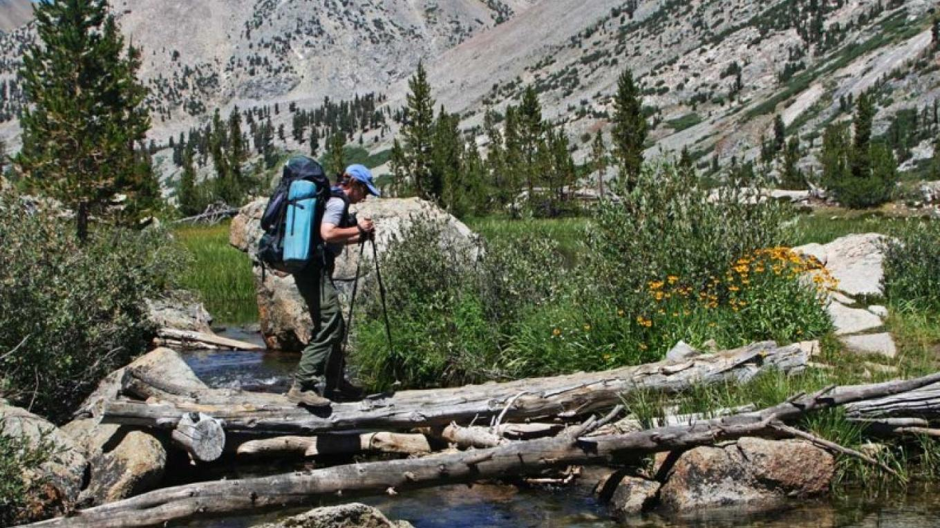 Crossing the south fork of Woods Creek on the part of the Rae Lakes Loop that shares the trail with Pacific Crest Trail – NPS/Rick Cain