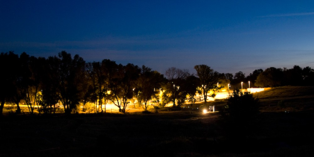 View of the El Dorado Center campus, at night,  facing South. – Adale van Dam