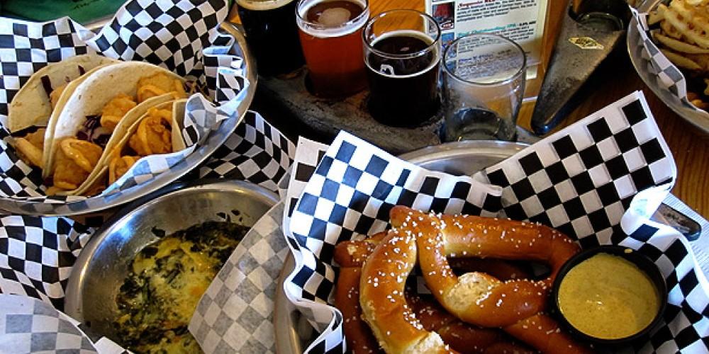 KRBC fish tacos, Sampler of 5oz glasses of KRBC beer, waffle fries & pretzels. – DrinkEatTravel.com