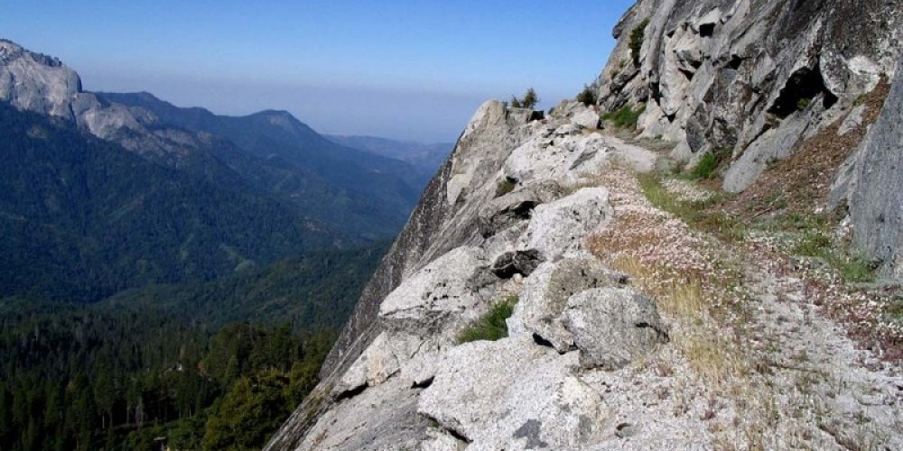 The High Sierra Trail winds around the flank of Alta Peak. – NPS/Rick Cain