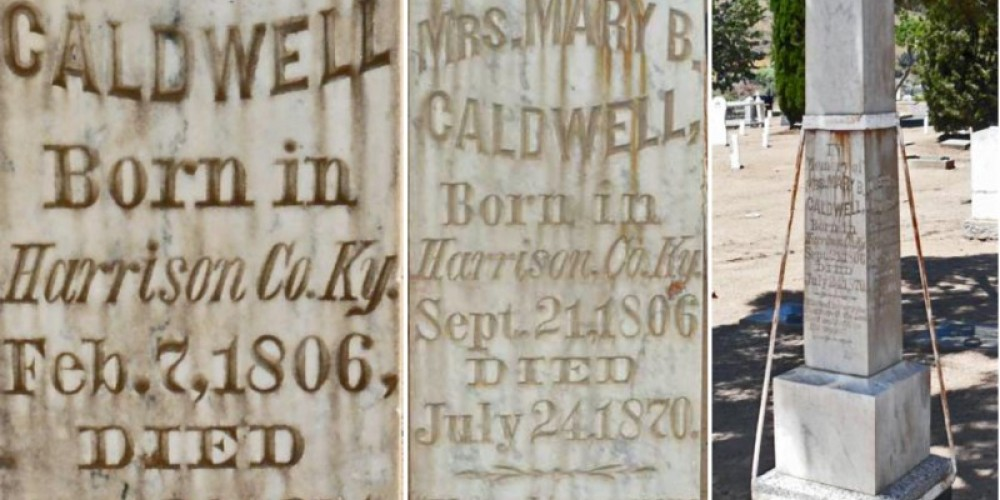 Caldwell Marker (including perhaps the oldest person buried in the Kern River Valley Historical Cemetery – Richard Cayia Rowe