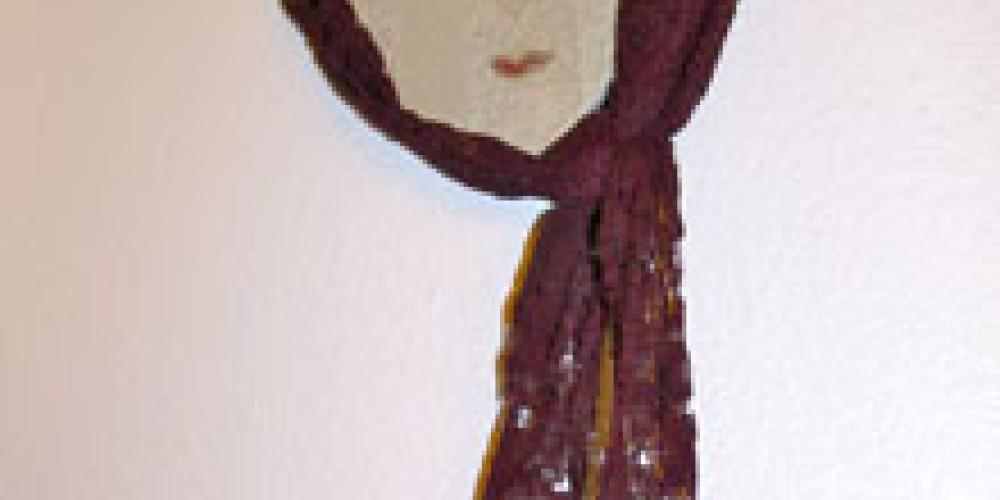 Loraine in Memory Long Beach Clay, Glaze, Lace, Beads, 2010 – Shirley A. Blair Keller