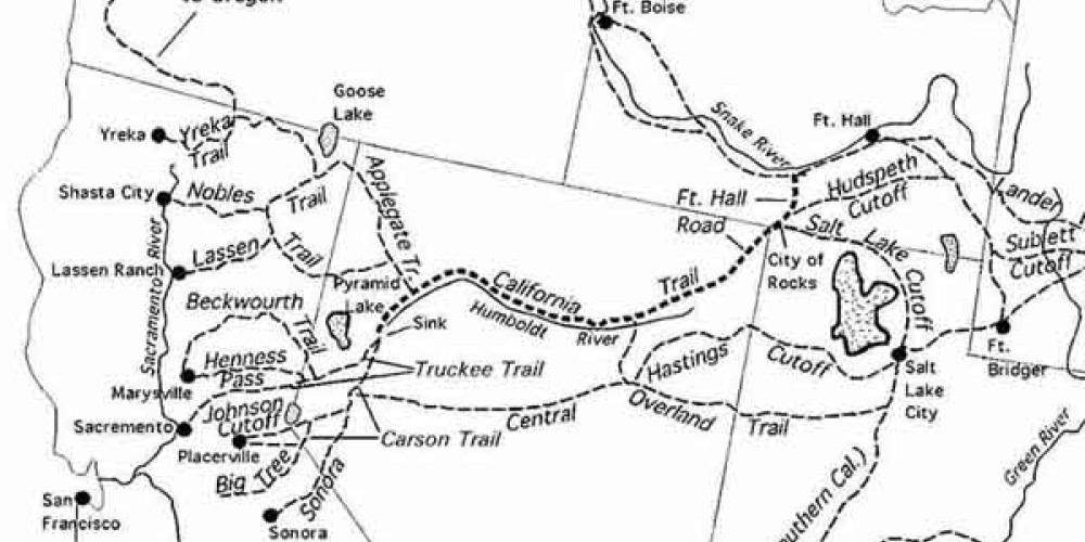 Trail map illustrating Emigrant Trail and other routes – waymarking.com