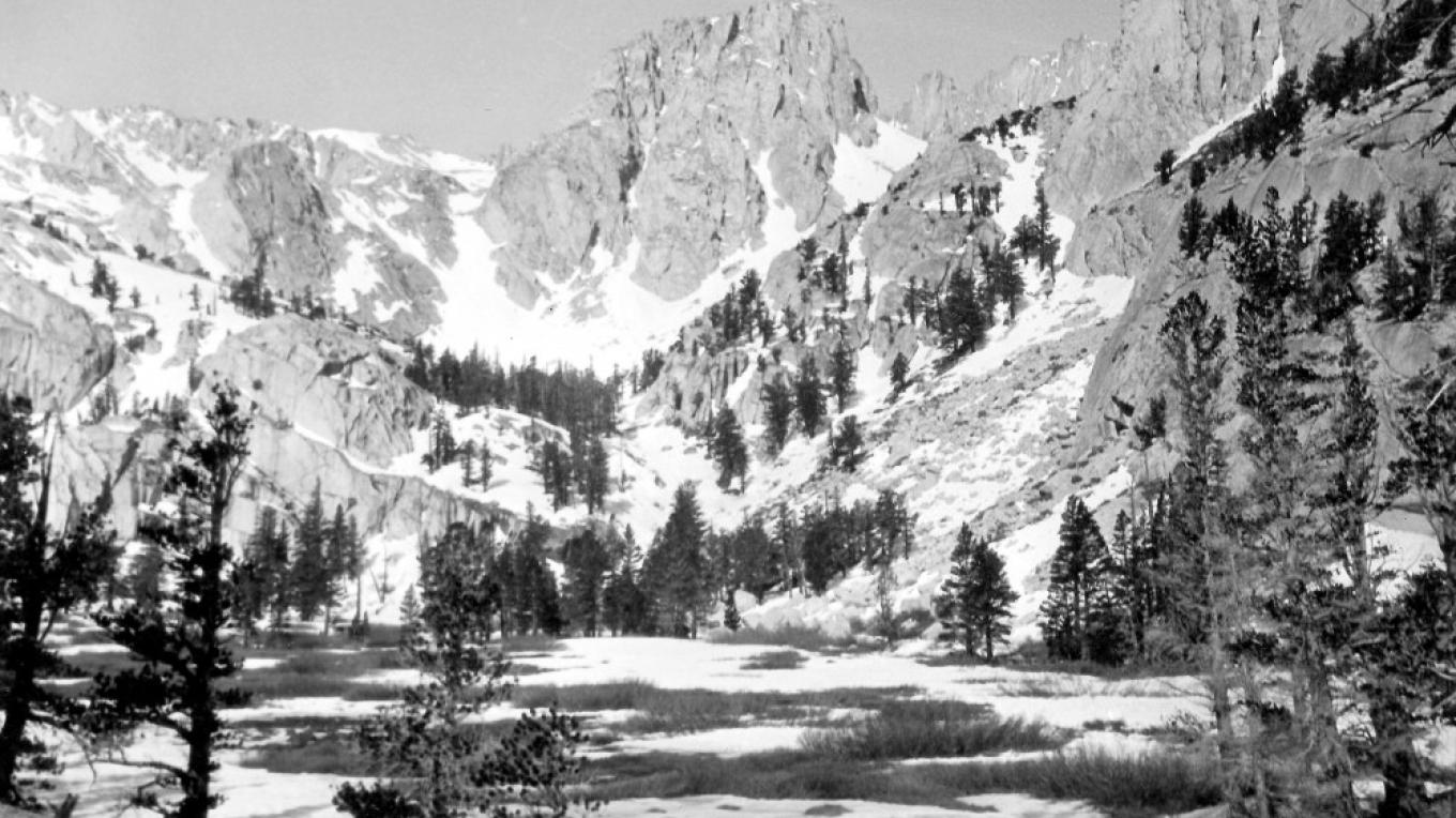 A view of Mt. Whitney from Bighorn Flat. – Norman Clyde, Eastern California Museum