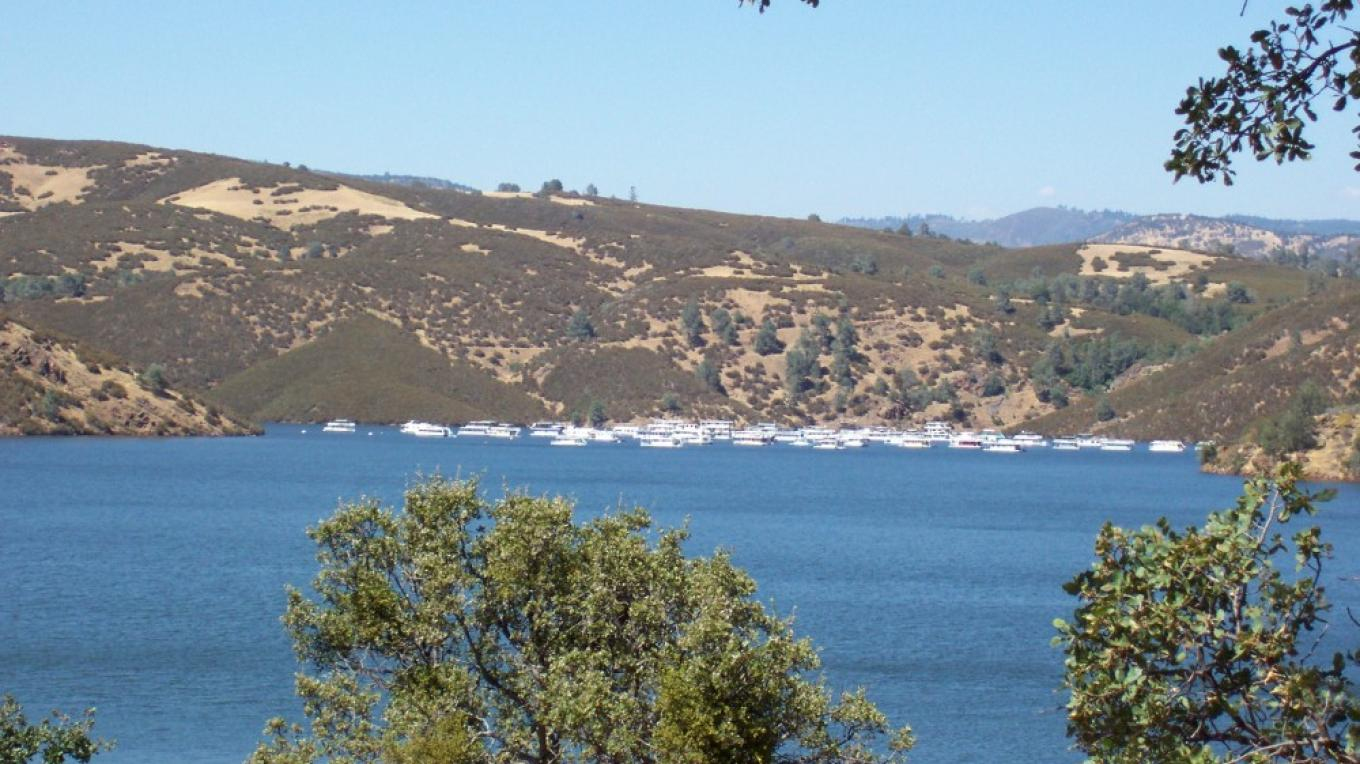 View of Lake McClure from the shore.