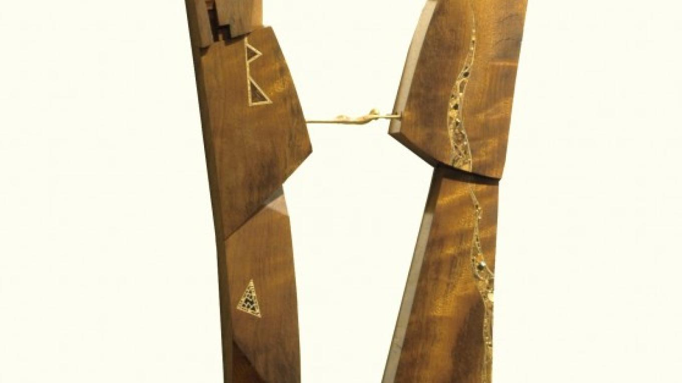"""Bridge Peacemaker Savior Survivor Child.\"" 46\""x23\"" Sustainable Exotic Woods by Cantwell"