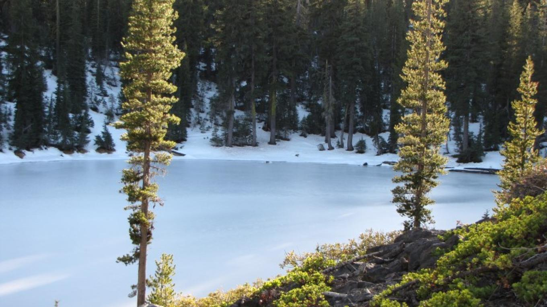 Ice covered lake on Summit Lakes Loop. – Ben Miles