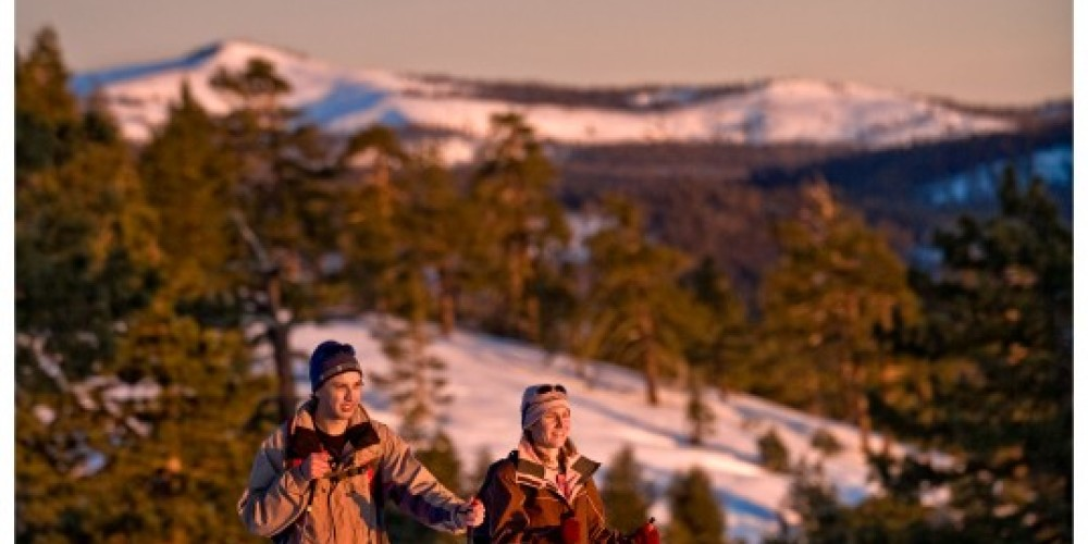 Snowshoers on Sunset Hike