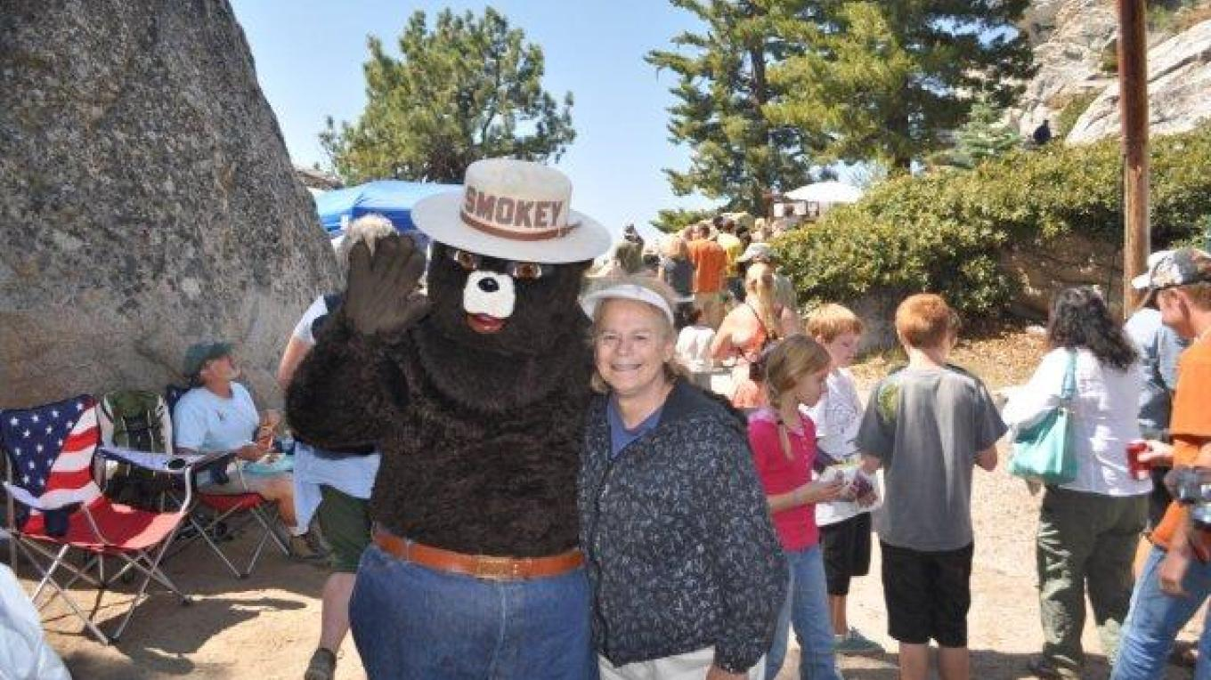 Smokey greets visitors who enjoy the annual Open House at Buck Rock Lookout – Barry Gorman