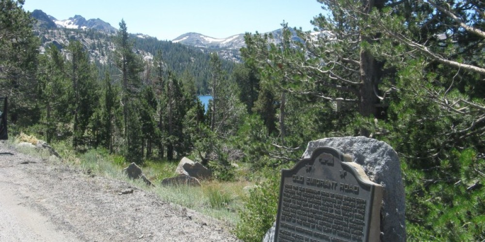 Old Emigrant Road Marker with Caples Lake in Background – By Syd Whittle, July 26, 2009