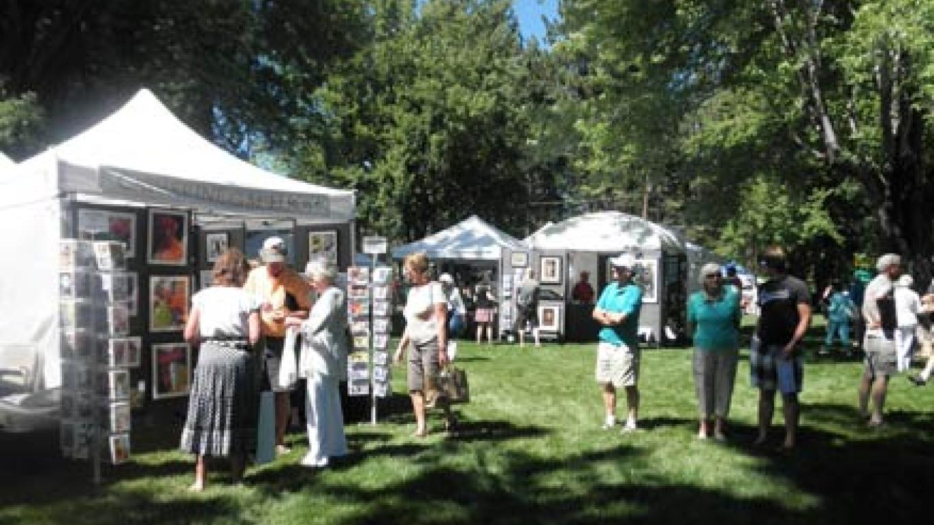 Beautiful things in a beautiful place: the gorgeous shady lawn at Collins Pine in Chester, CA hosts the annual Almanor Art Show. – Roxanne Valladao