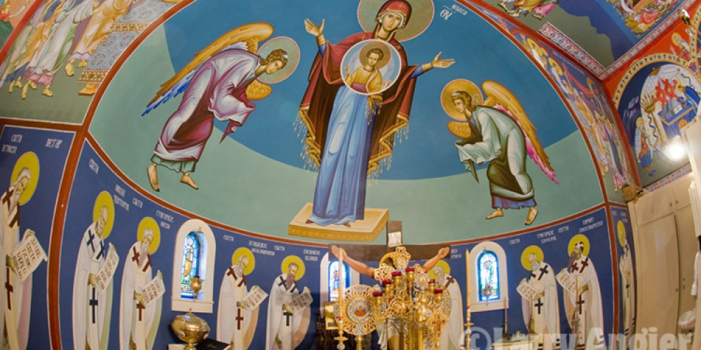 Mother of God fresco behind the altar, St. Sava Church. – Larry Angier