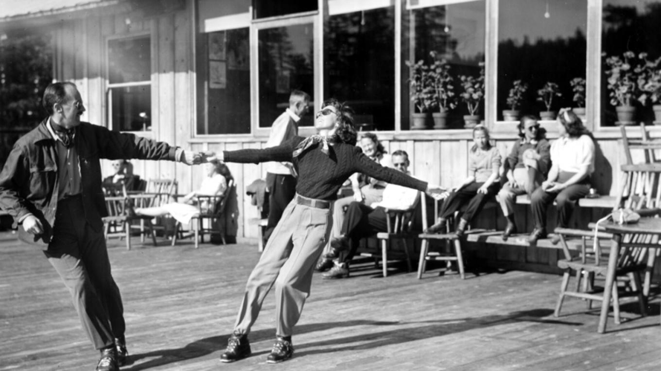 Walt Disney dancing on the deck – Compliments of Sugar Bowl