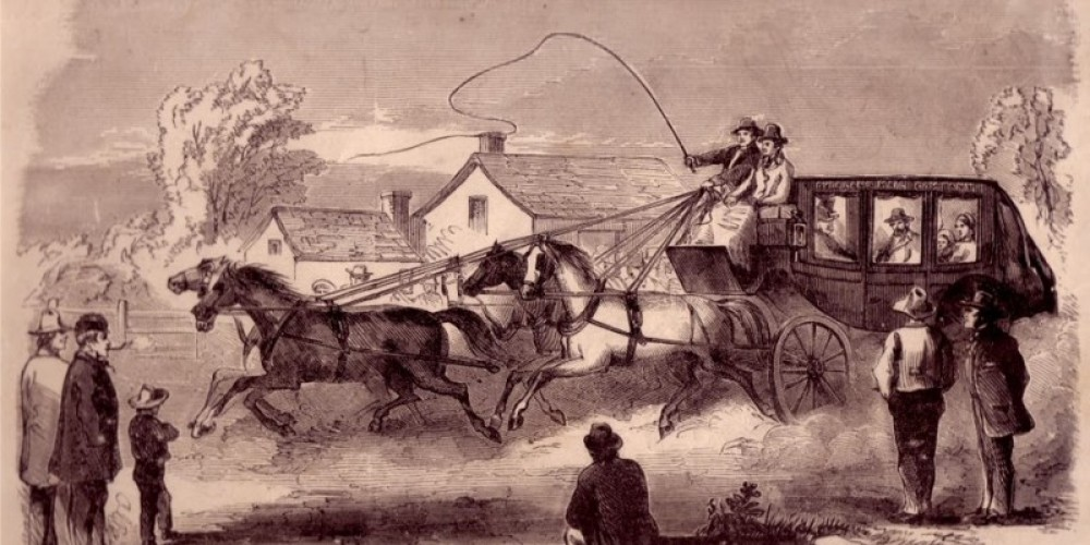 "This woodcut print by C. Edmonds was reprinted in 1874, as ""The Overland Mail—The Start from Fort Smith, AK, for the Pacific Coast—First Coach Driven by John Butterfield, Jr."" – Charlie Alison"