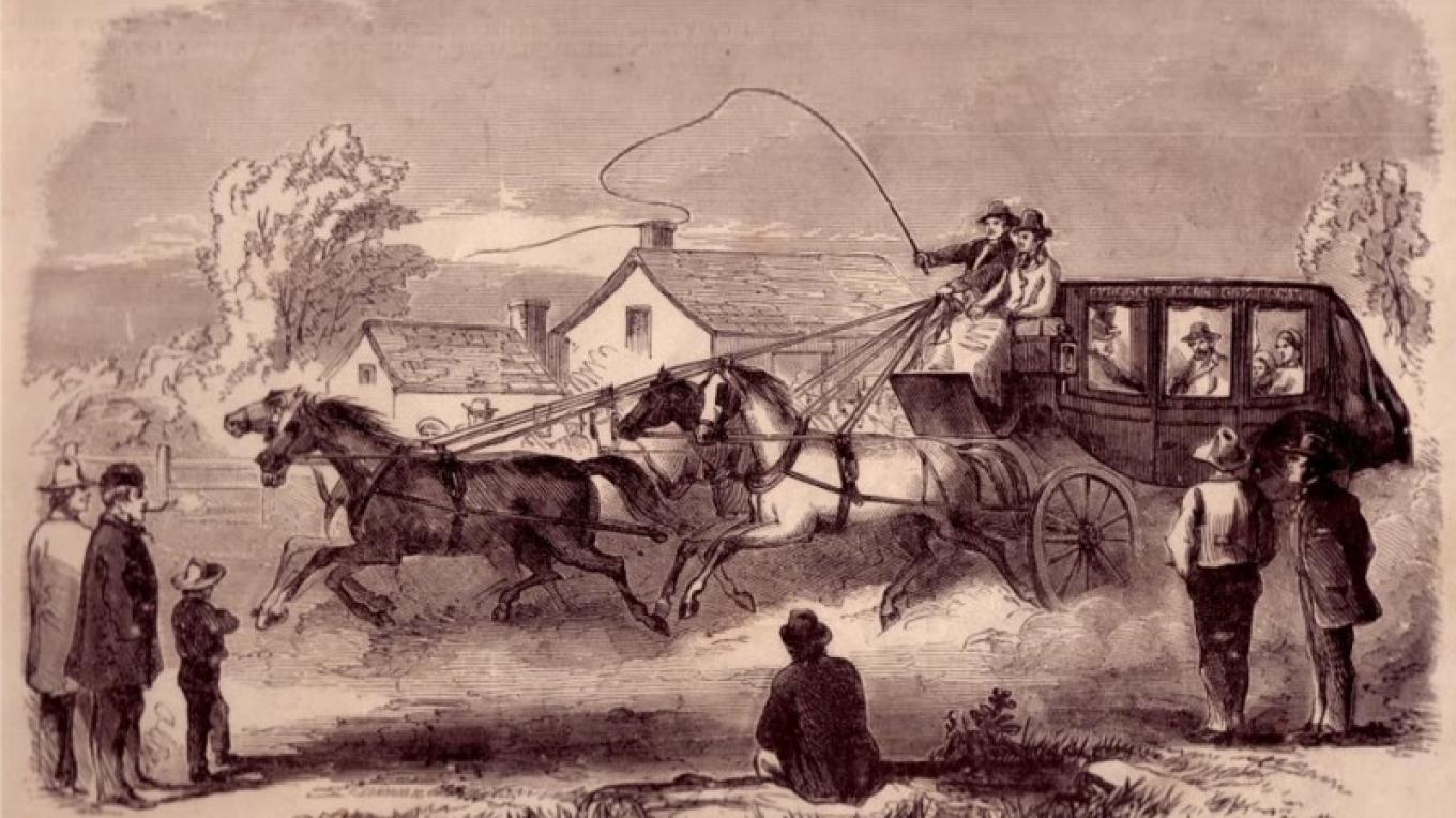 """This woodcut print by C. Edmonds was reprinted in 1874, as """"The Overland Mail—The Start from Fort Smith, AK, for the Pacific Coast—First Coach Driven by John Butterfield, Jr."""" – Charlie Alison"""