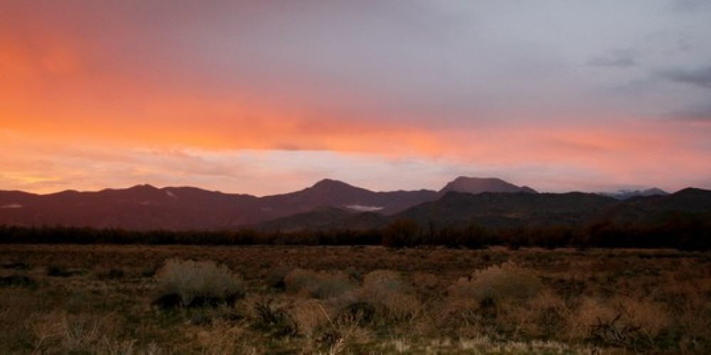 A winter sunset looking north into the South Fork Wildlife Area from Highway 178. – Alison Sheehey