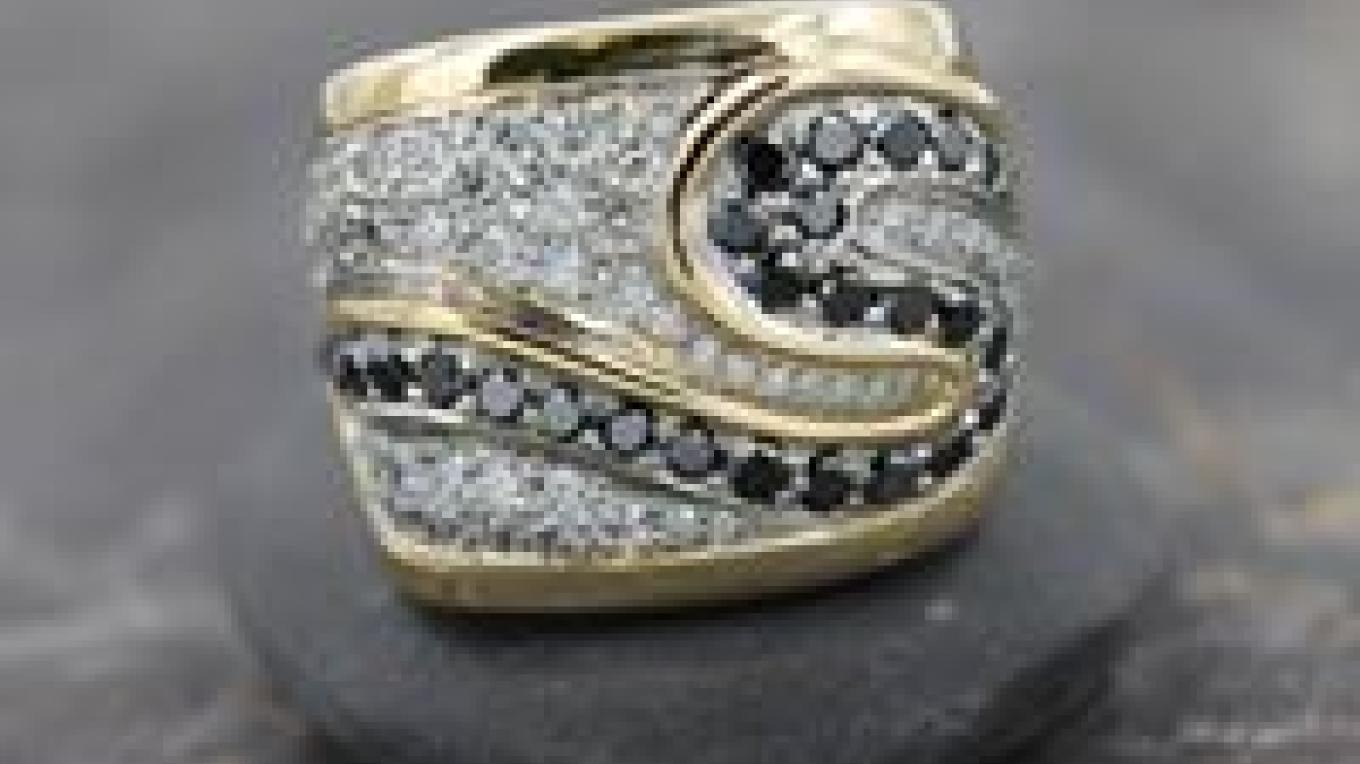 Traditional and Black Diamond Gold Ring