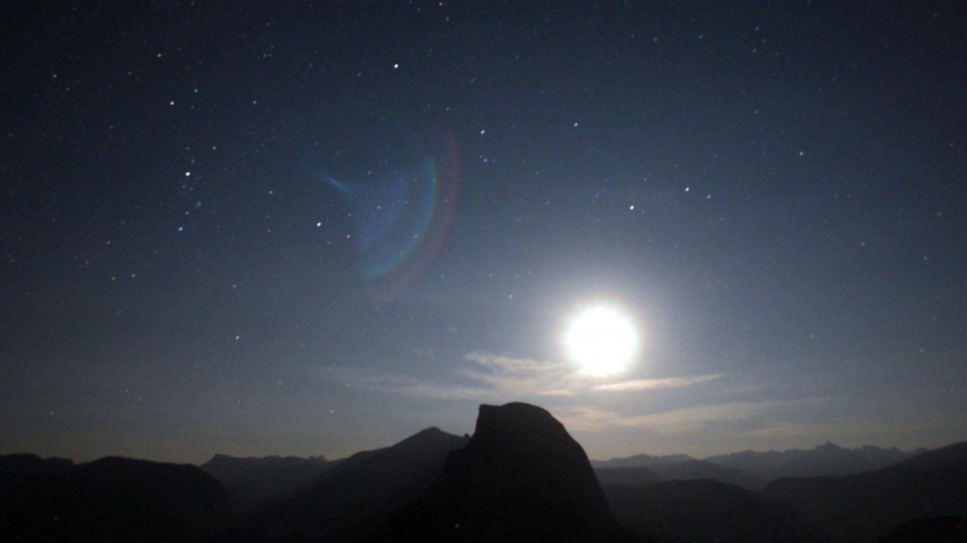 Half Dome at midnight with moon rise from Glacier Point – Pat Althizer