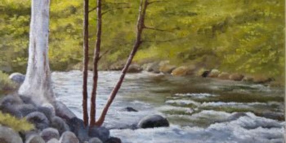 Kaweah River, oil painting
