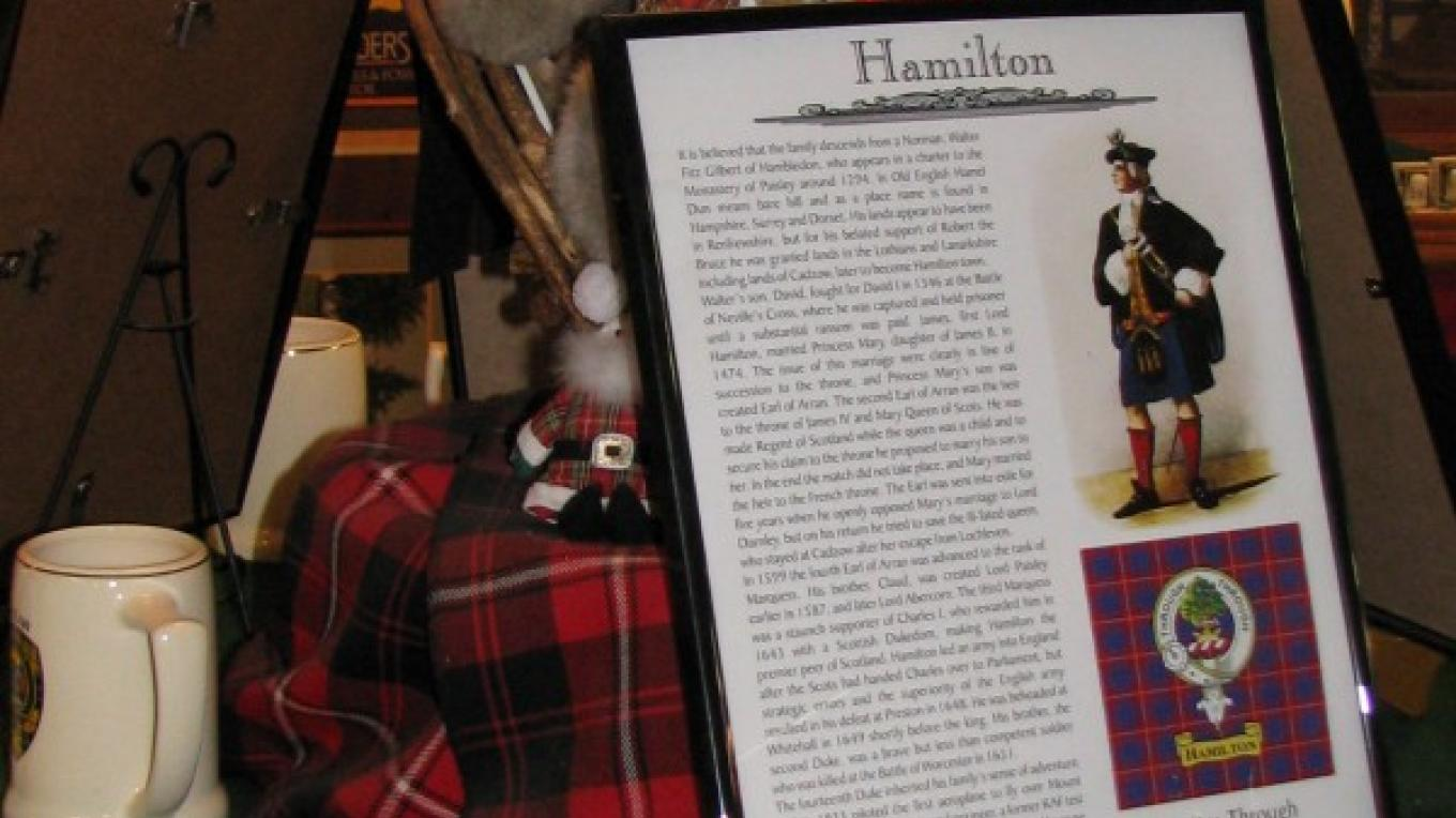 Certainly Jack Hamilton would be carrying his plaid, dating back to 1294. – Karrie Lindsay