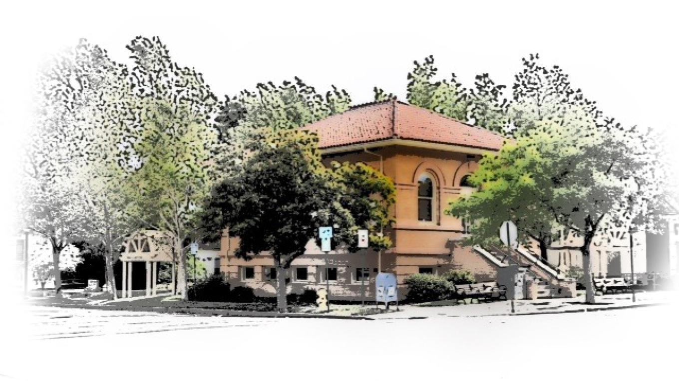 The Carnegie Library built in 1909. – photo art by Jean Cross