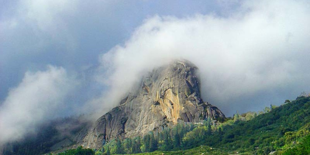 Moro Rock is wreathed by a cloud – NPS/Steve Bumgardner