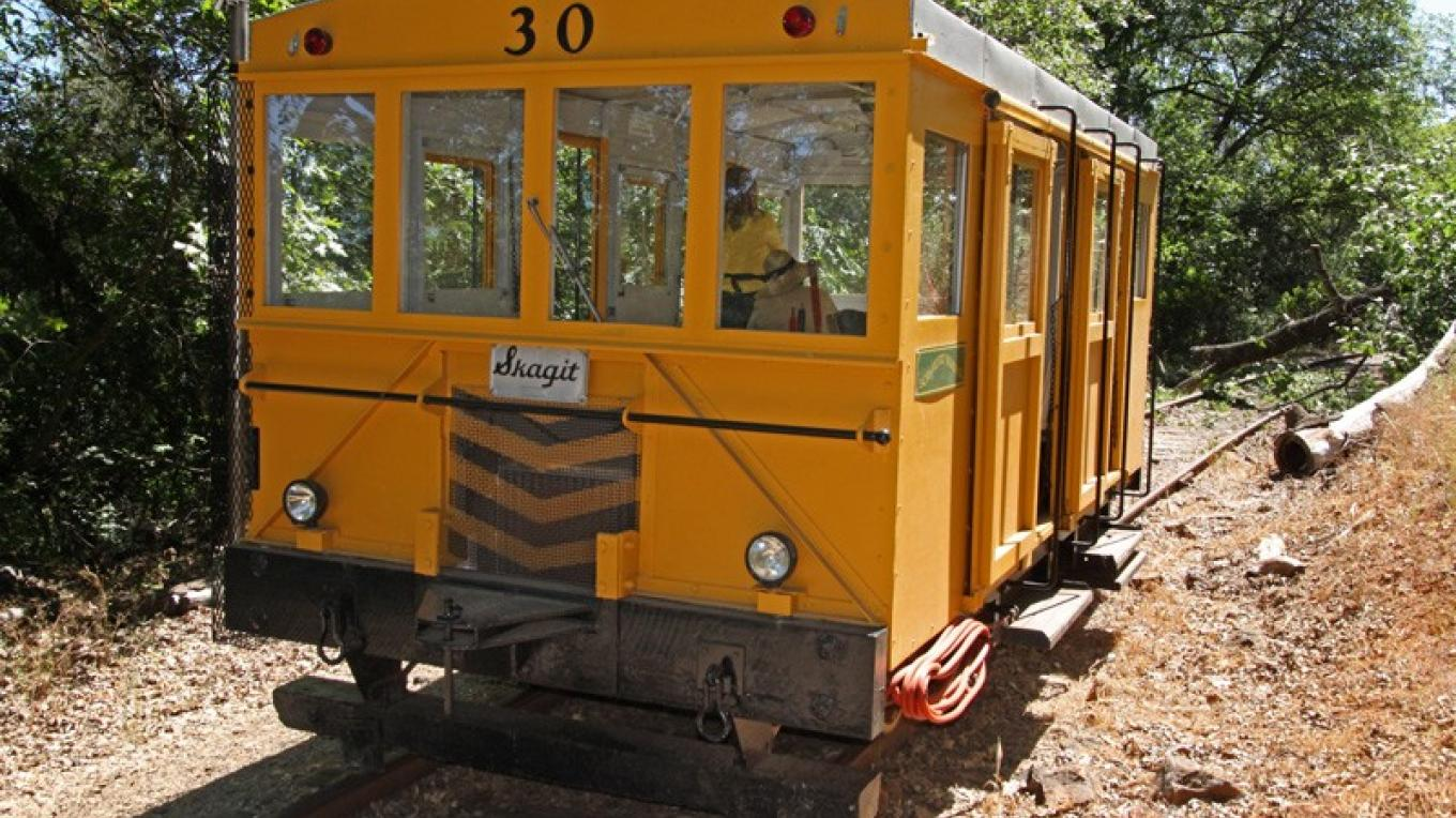 Placerville & Sacramento Valley RR's Skagit track car for rides on the original first California train line. – Ray Anderson