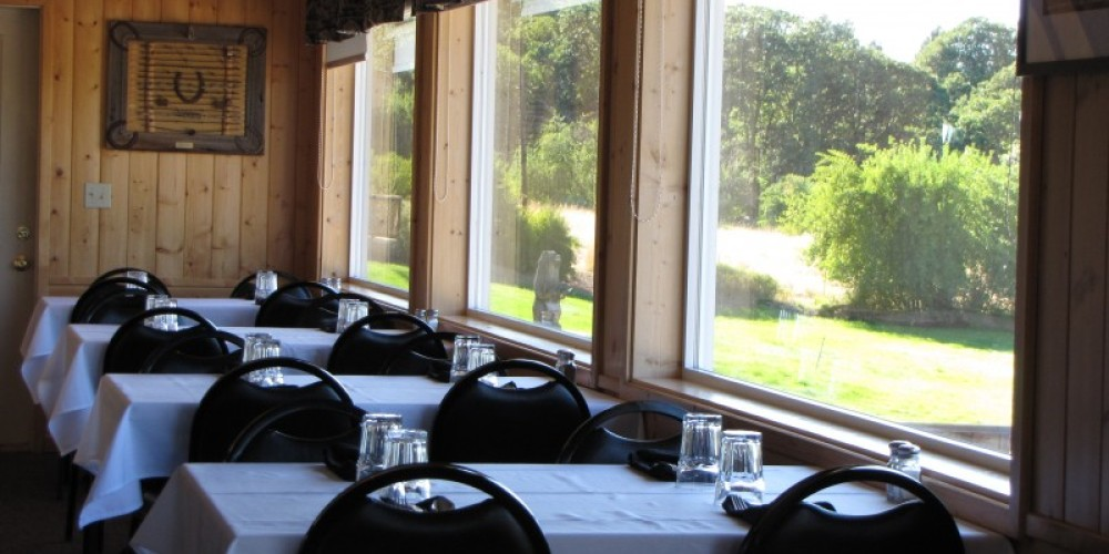 The dining room at Spinner Falls Lodge offers beautiful views of Fall River. – Ben Miles