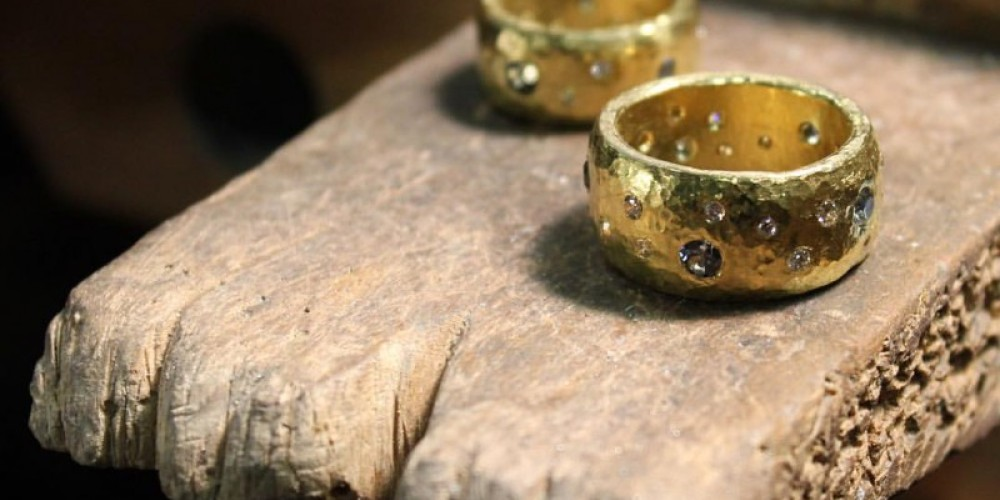 Matching Hammered Gold and Diamond Wedding Bands