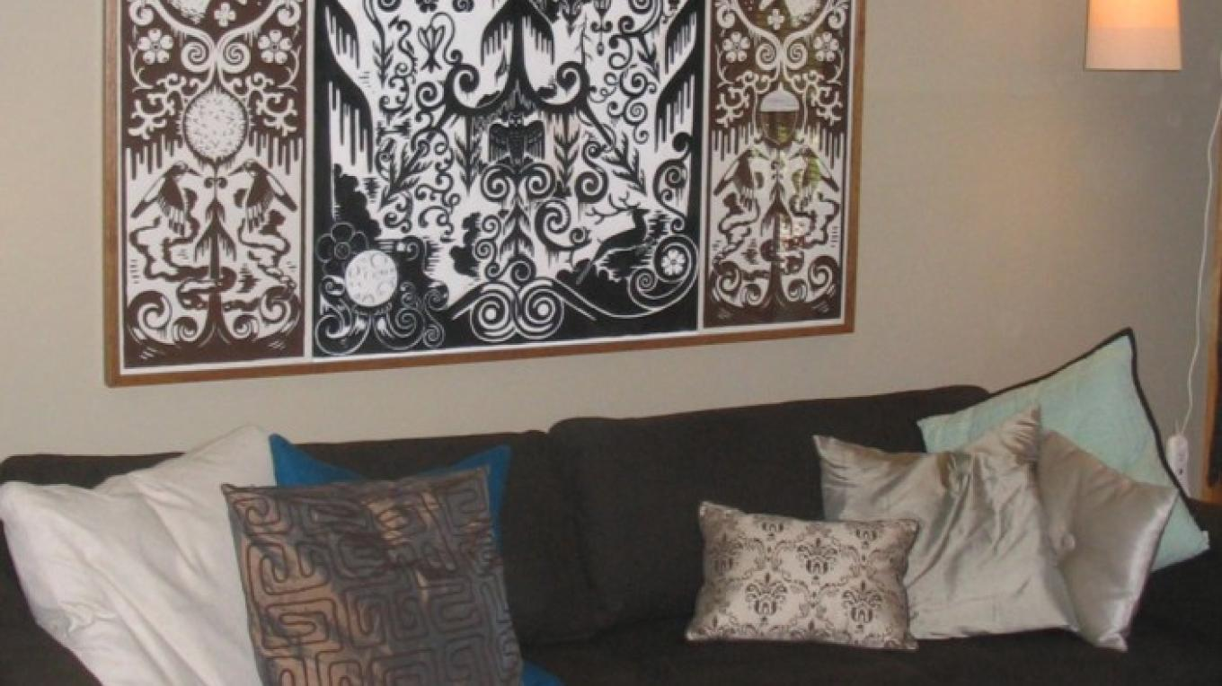 Art by Fivespot owner Bachrun LoMele in the living room – Mahalia LoMele