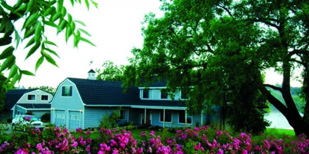 Roses in bloom alongside the inn.