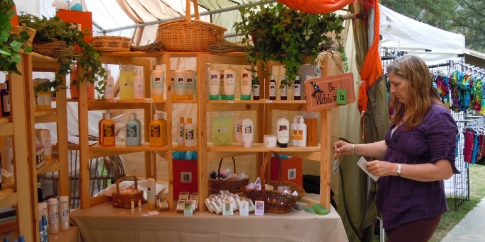 Jannene Lasswell with her organic, natural skin care products – Elsah Cort