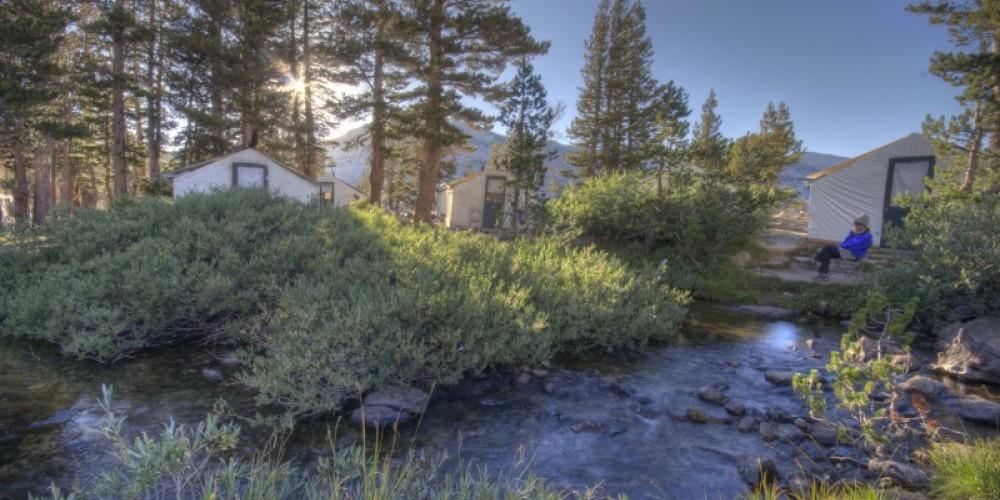Vogelsang High Sierra Camp tent cabins alongside Fletcher Creek